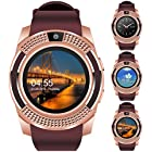 "Padcod V8 Smart Watch Bluetooth with Camera, 1.22"" Display OGS Touch Screen,Pedometer,sedentary Reminder,Sleep Monitor,Instant Notification Anti-Lost smartwatch (Brown+Rose Gold)"