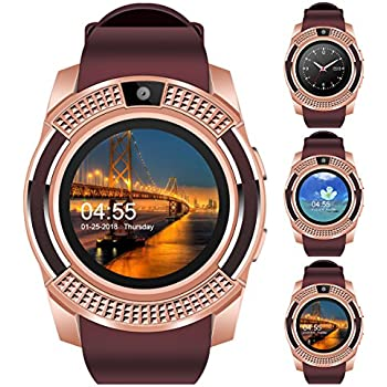 "Padcod V8 Smart Watch Bluetooth with Camera, 1.22"" Display OGS Touch Screen,Pedometer,sedentary Reminder,Sleep Monitor,Instant Notification Anti-Lost ..."