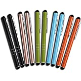 10 Stück Premium Eingabestift Touchstift Stylus Pen für iphone 7 7s 6 6s 5 6s 4 4s, ipad Mini Air, Samsung Galaxy Huawei P7 P8 P9 und alle Tablets Smartphones, Farbe: schwarz gold grün blau orange
