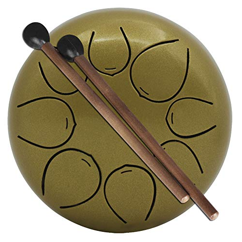 (XuBa 5 Inch Mini Size Drum with Mallets Storage Bag for Children Instrument Gold)