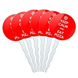 Set of 6 Cupcake Picks Toppers Decoration Keep Calm and A-H - Eat Pizza Red - Keep Calm and offers