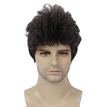 Wig cap Fashion man men boy short Dark Brown //Grey//black Natural Hair wigs