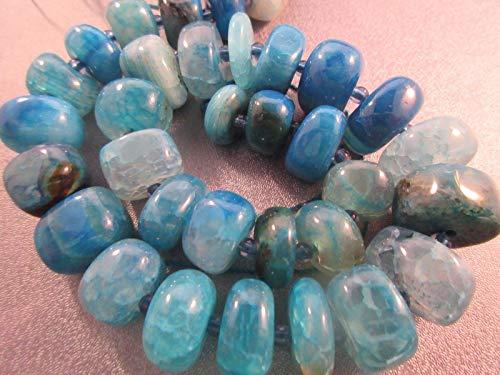 Blue Striped Agate Graduated Roundel Beads 32pcs #ID-436 ()