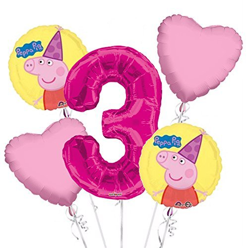 Peppa Pig Balloon Bouquet 3rd Birthday 5 pcs - Party Supplies Pink ()
