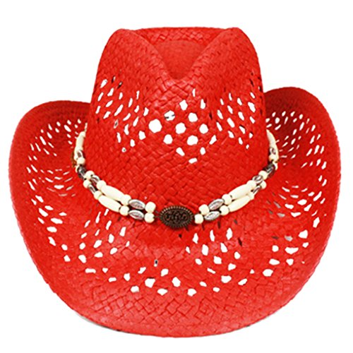 (Silver Fever Ombre Woven Straw Cowboy Hat with Cut-Outs,Beads, Chin Strap (Red, Beaded))