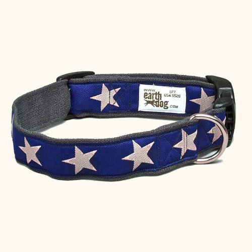 Earthdog Adjustable Hemp Dog Collar in Star Pattern (Blue, Large)