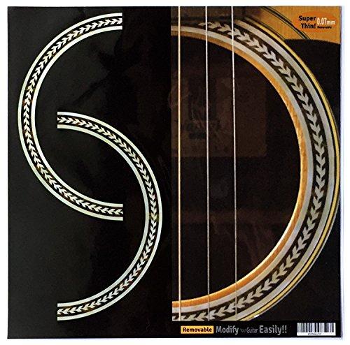 Guitar Rosette - Inlay Sticker Decal Acoustic Guitar Purflinng Sound hole In Abalone Theme - Rosette (Herringbone)