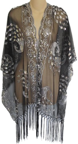 - Sheer Peacock & Heart Sequin Fringed Evening Wrap Shawl for Prom Wedding Formal (Black/Silver)