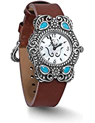 American West Sleeping Beauty Turquoise Brown Leather Strap Watch