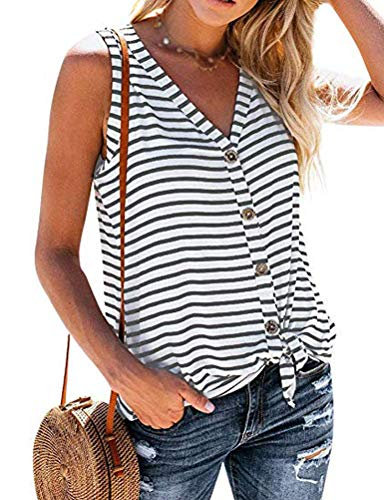 (YourTops Women V-Neck Stripe Tank Tops Button Up Shirt (US XL, 2-White))