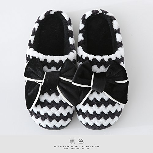 LaxBaMesdames Accueil Marbre Chaussons doux semelle d'Cotton-Padded Shoesblack agréable 40-41