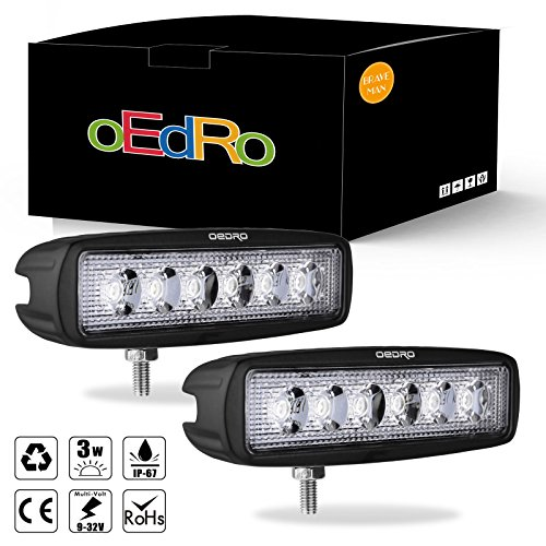 oEdRo led light bar 2pcs 18W Flood LED Work Light Off Road Lights Car Boat Lights Fog Driving Light UTE SUV 4X4 4WD ATV Jeep Lamp 3 years Warranty (Fog Car)