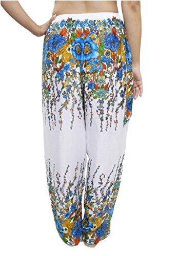 Blu da Pantaloni Lofbaz Harem Coulisse amp; bohemien boemo Donna 1 Aladdin Floral Bianco Casual dOwqETq