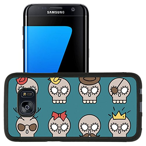 [Luxlady Premium Samsung Galaxy S7 Edge Aluminum Backplate Bumper Snap Case IMAGE ID: 32142911 Cute vector skull icons set with different elements such as moustache diamond crown hat] (Moustache Halloween)