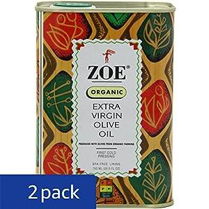Zoe Organic Extra Virgin Olive Oil 25.5 FL. OZ. tins (Pack of 2), Organic Spanish Extra Virgin Olive Oil, First Cold Pressing of Spanish Cornicabra Olives, Delicate Aromatic Buttery Flavor, Kosher