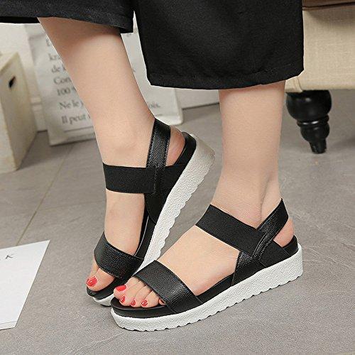 Verano Cuero Mujer 35 Sandalias Plataforma Zapatillas Deportivas Plata 40 4cm Negro Blanco wtgqAxfqE