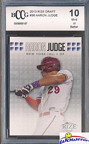 Aaron Judge 2013 Leaf Rize Draft New York Yankees Baseball ROOKIE Card Graded HIGH BECKETT 10 MINT! Awesome HIGH GRADE ROOKIE Card of Yankees Home Run Hitting Superstar! (Grade Baseball Cards)