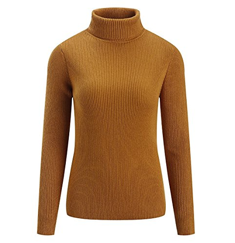 Classic Cashmere Turtleneck Sweater - Fengtre Women's Cashmere Stretchy Turtleneck Basic Pullover Sweater Knit Top,Darkyellow L
