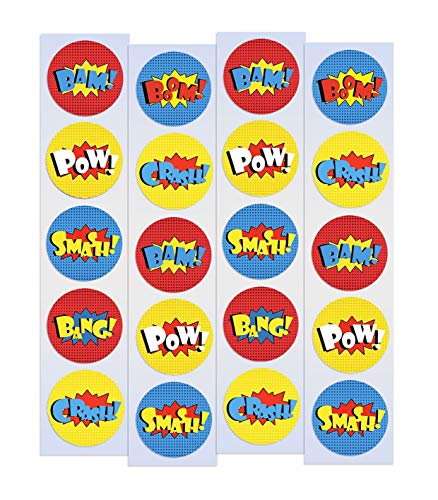 Superhero Stickers Round | 30 Pack | Super Hero Stickers Party Favors Easy to Peel & Stick - Great for Batman Comic Theme Party, Supplies & Goody Bags -