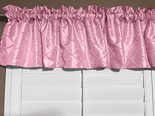 Zen Creative Designs Pink Cross Stitch Diamond Pattern Pin-tuck Taffeta Window Valance 52