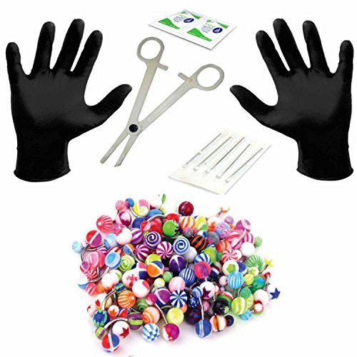 BodyJ4You Professional Body Piercing Kit 35PCS for Belly Button Ring Surgical Steel 14G (1.6mm)