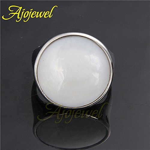 Dudee Unisex Trendy Classic Round Shaped White Shell womens engagement rings fashion rings for women