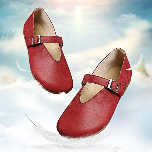 Socofy Women's Loafers Flats Shoes, Slip-On Loafer Flat Boat Shoes Leather Casual Toe Shoes,Moccasins Fashion Comfort Walking Sandals Outdoor Driving Shoes Red 1