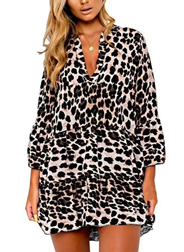 BTFBM Women Leopard V Neck Trumpet Sleeves Casual Loose Fit Mini T-Shirt Tunic Dress (Leopard, Small)