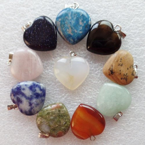 [10pcs Mixed Gemstone Heart Pendant Bead DIY Jewelry Making stone Random send] (Gemstone Heart Pendant Bead)