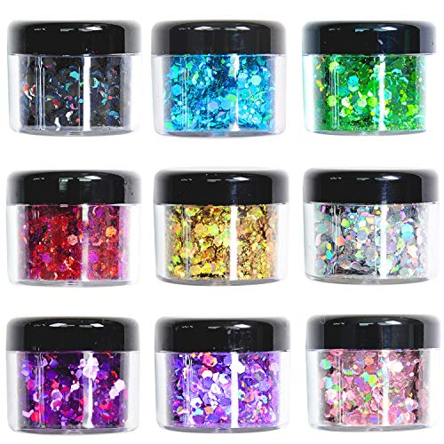 Glitter Wenida 9 Colors Holographic Cosmetic Festival Chunky Body Glitter for Nail Hair Face