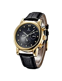 Fanmis Mens Womens Black Dial Crystal Moon Phase Automatic Watch with Black Leather Strap