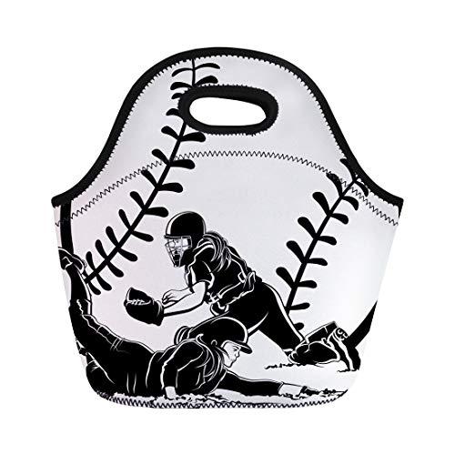 Semtomn Lunch Bags Fielding Girl Softball Slide Catcher Women Female Runner Cleats Neoprene Lunch Bag Lunchbox Tote Bag Portable Picnic Bag Cooler Bag