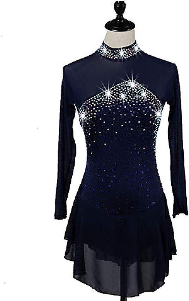 フィギュアスケートドレス、女性の女の子のアクアマリンネイビーブルー高弾性競争スケートウェアクイックドライ解剖学的デザインクラシック長袖アイススケート ネイビー Child14