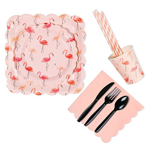 Flamingo Birthday Party Supplies Set, RiscaWin Party Set Supplies for 10, Paper Plates,Paper Cups,Paper Straws,Napkins,Plastic Forks/Knives/Spoon– Complete Party Pack (Flamingo)