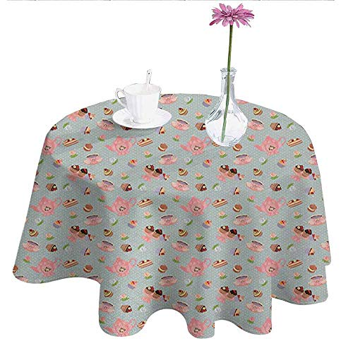 Douglas Hill Tea Party Printed Tablecloth Cupcakes Cookies and Flowers on Polka Dotted Background Great Britain Tradition Desktop Protection pad D40 Inch Multicolor]()