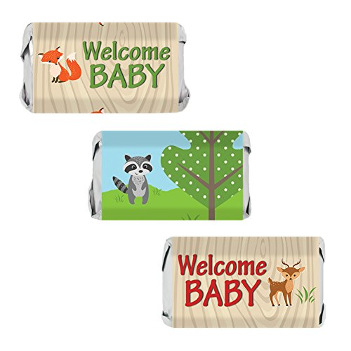 Woodland Animals Baby Shower Miniatures Candy Bar Wrapper Stickers (Set of 54)]()