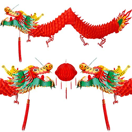 Bememo 3D Chinese New Year Dragon Garland Hanging Decoration (2 Pieces, 4.92 Feet with Lantern)