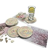 6x Woven Drink Coasters Absorbent Set Braided Cloth