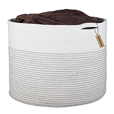 """INDRESSME Extra Large Storage Baskets Cotton Rope Basket Woven Baby Laundry Basket with Handle for Diaper Toy Cute Neutral Home Decor Addition Diaper Toy 17"""" x 14.7"""" - 100% cotton rope, healthy material without any chemicals woven storage basket Soft and firm basket, no collision scratches, perfect to accommodate baby's clothes and other toys in nursery room, large blanket basket for living room Handles design, easy to move and take away, free awesome practical cotton large storage baskets - living-room-decor, living-room, baskets-storage - 51lBS4kTSML. SS400  -"""