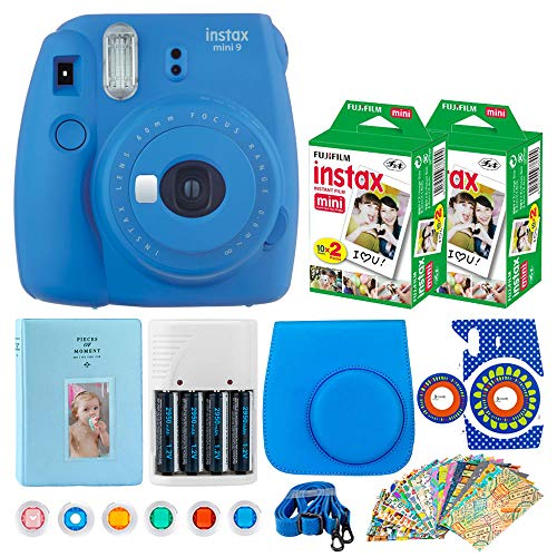 Fujifilm Instax Mini 9 Instant Film Camera (Cobalt Blue) + Fujifilm Instax Mini Instant Film (40 Shots) + Camera Case + 4 AA Batteries & Charger + 6 Colored Filters + 20 Sticker Frames Travel Package