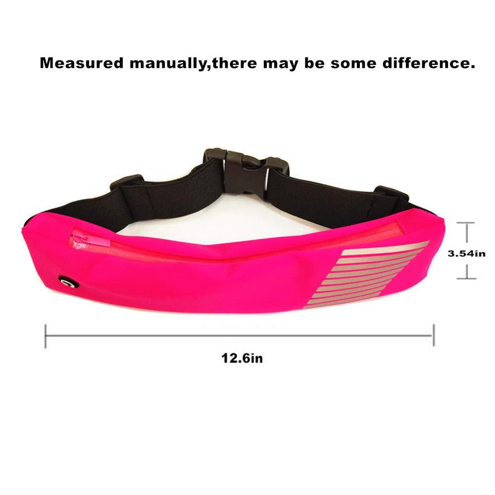 AKJMMZ Running Belt Waist Pack Ultra Light Sweatproof Reflective Adjustable Stretchy Zippered Fanny Pack with Headphone Port for Waist Curve and Convenient for Running Cycling Walking Hiking Fitness