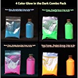 4 Color Combo Pack of Glow in the Dark Powder (60 grams in total). 15 grams each of Neon Blue, Neon Pink, Neon Orange and Neon Purple. Great for Mixing With Paints, Resins, Spray Paint, Ink, Waxes, Screen Printing Ink, Fabric Ink, Ceramics and More!