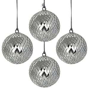 Christmas Decorations Mirror Ball Hanging Ornaments Xmas Set Of 4