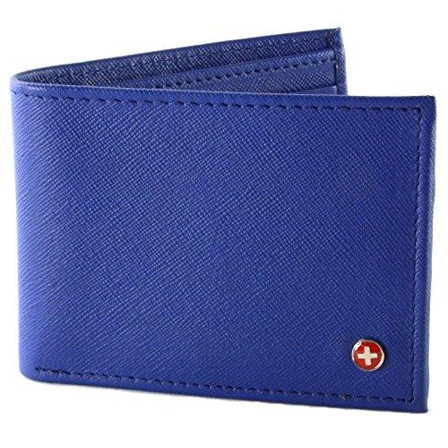 Blue Wallet - Alpine Swiss Men's Genuine Leather Wallet Slim Flip-out Bifold Crosshatch Blue