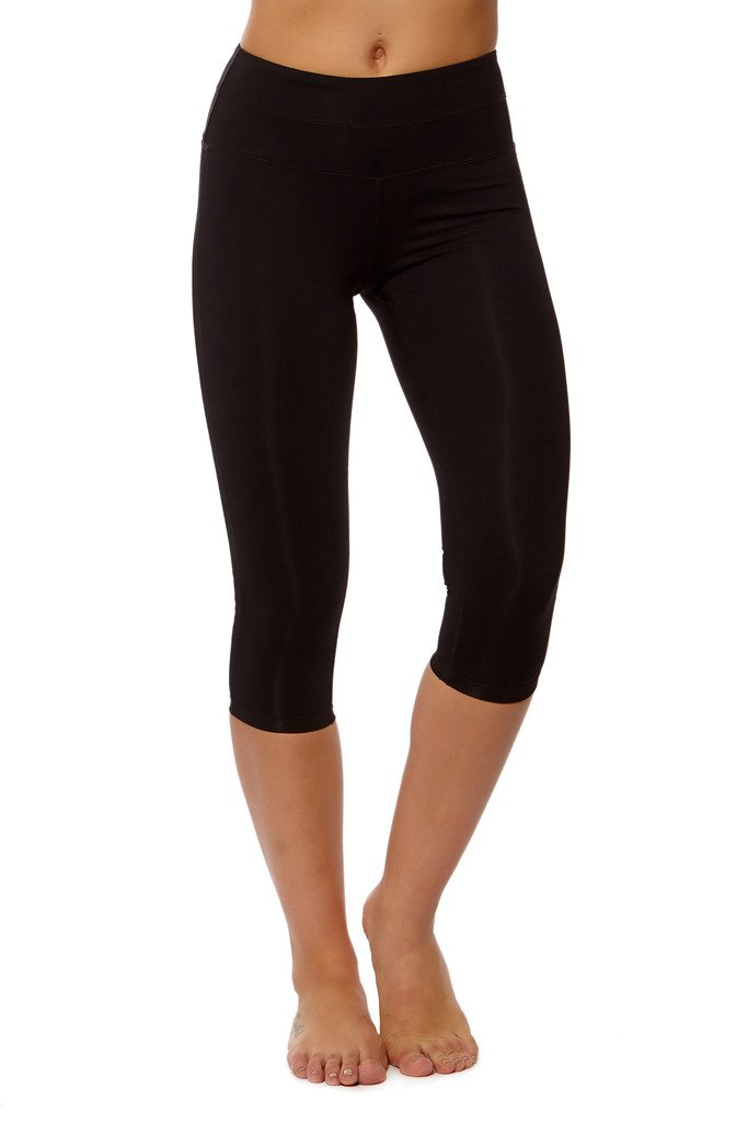 PRJON Form Fitting Leggings with Side Mesh and Double Band Capris Black L