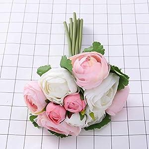 BESTOYARD 10pcs Artificial Flowers Camellia Bridal Wedding Bouquet Bridesmaid Bride Toss Bouquet Home Decoration (Pink & White) 5