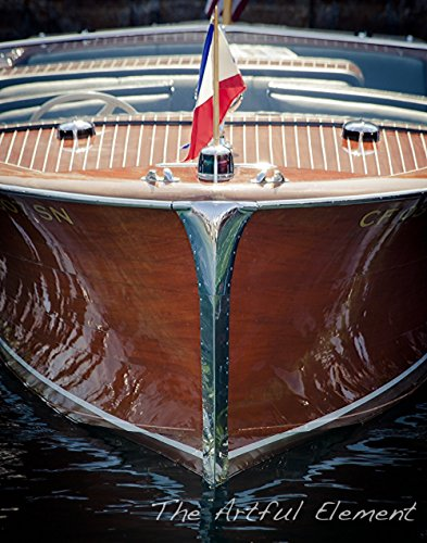 Fine Art Color Photograph of a Vintage Chris Craft in the Harbor.