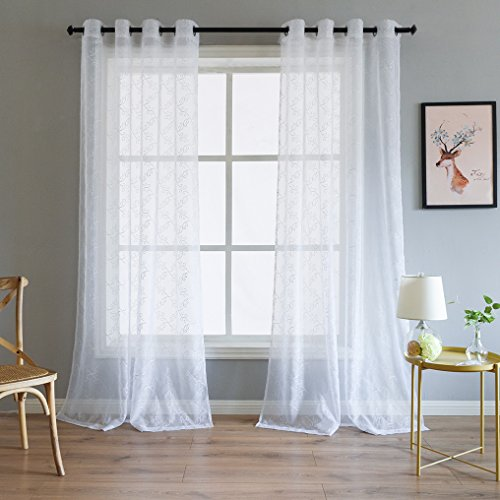 Valea Home White Sheer Window Curtains Grommet Voile Panel Floral Vine Embroidery Drape for Living Room, Bedroom, Dining Room, 54