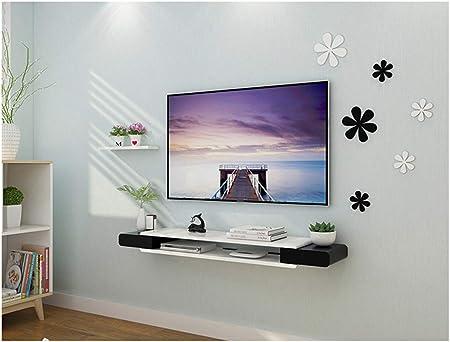 Blanco Tamaño pequeño Estante flotante Estante de TV decodificador de consola Consola de TV Organizador de caja de almacenamiento Estante de DVD caja de cable Soporte de exhibición de florero Estan: Amazon.es: