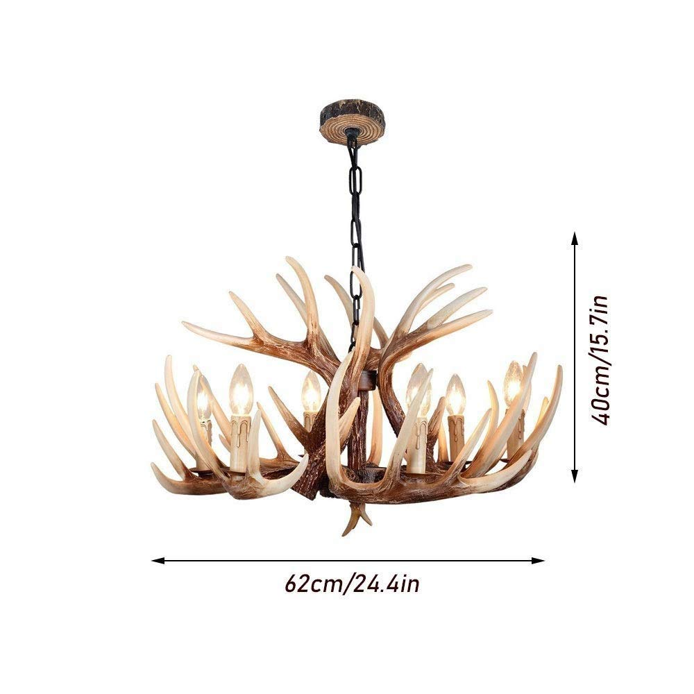 caff/è Bar Stile Vintage Luce di soffitto Americano Rurale Campagna Lampadari Antler for Living Room Sala da Pranzo LYYJIAJU Resina Antler Chandelier